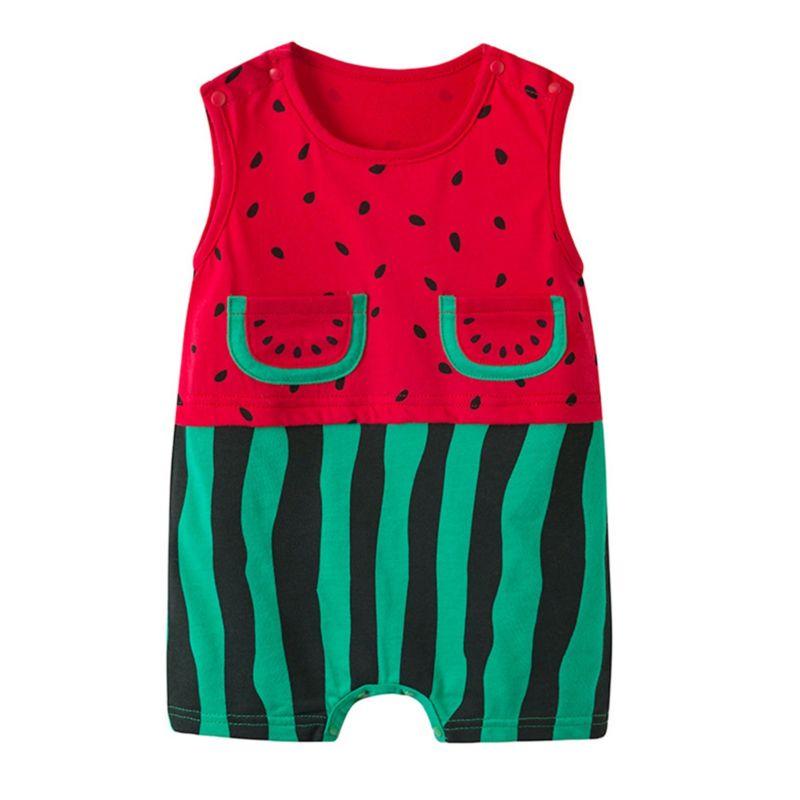 Watermelon Style Baby Shortalls