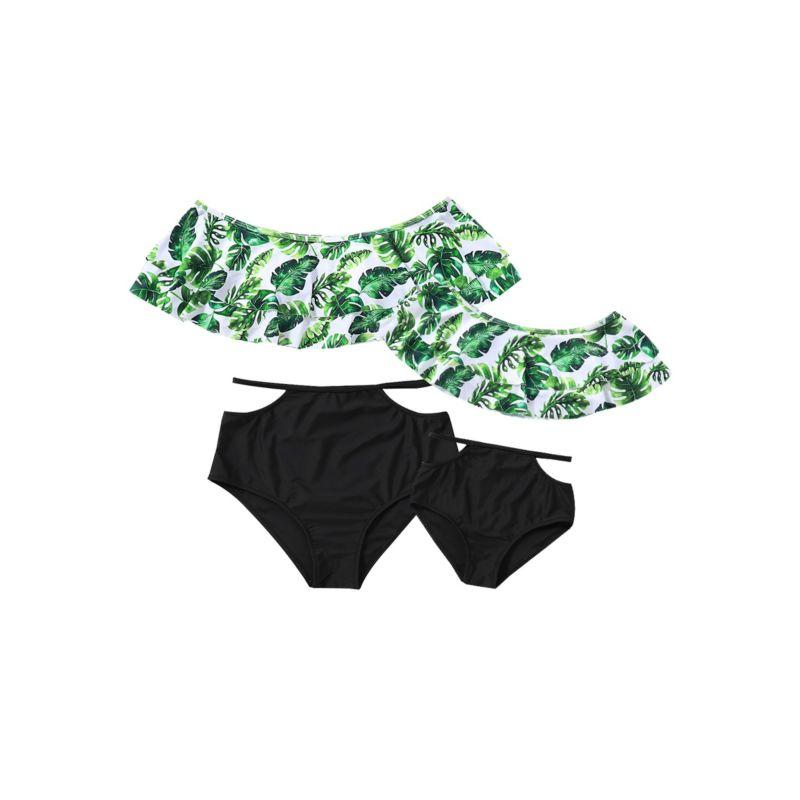 Mom and Me Big Leaf Print Swimwear Set