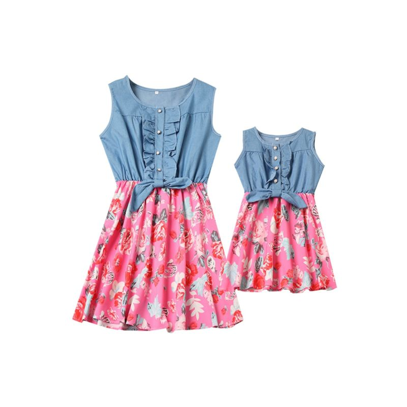 Mommy and Me Flower Denim Patchwork Sleeveless Dress