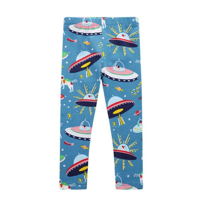 Spring Cartoon Spaceship Print Toddler Little Girl Leggings Pants