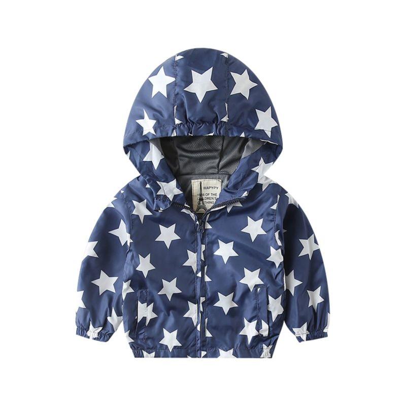 Spring Allover Print Hooded Jacket
