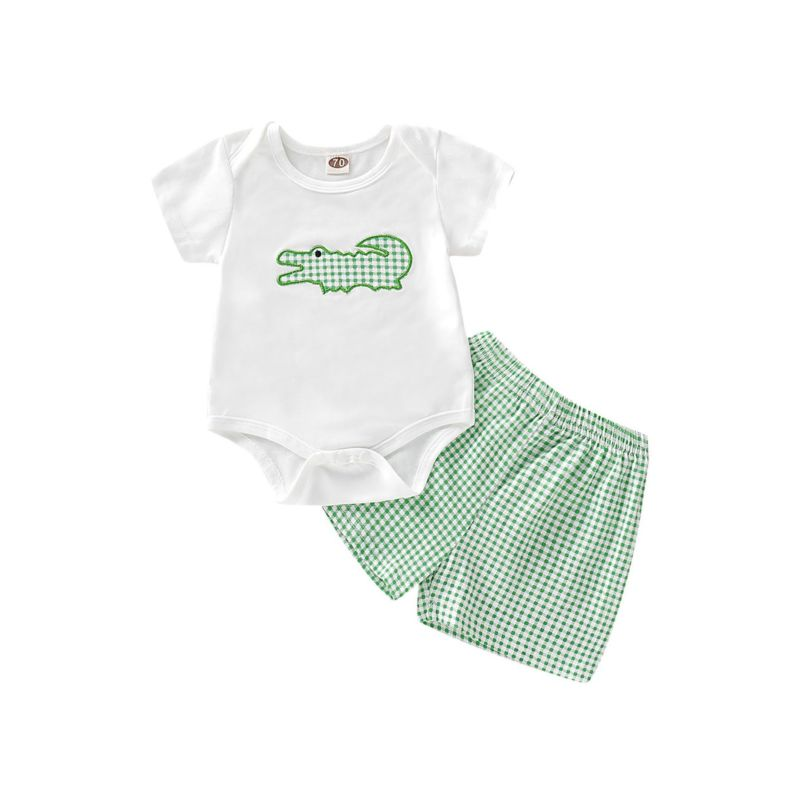 2-Piece Baby Onesie Matching Plaid Shorts Outfit
