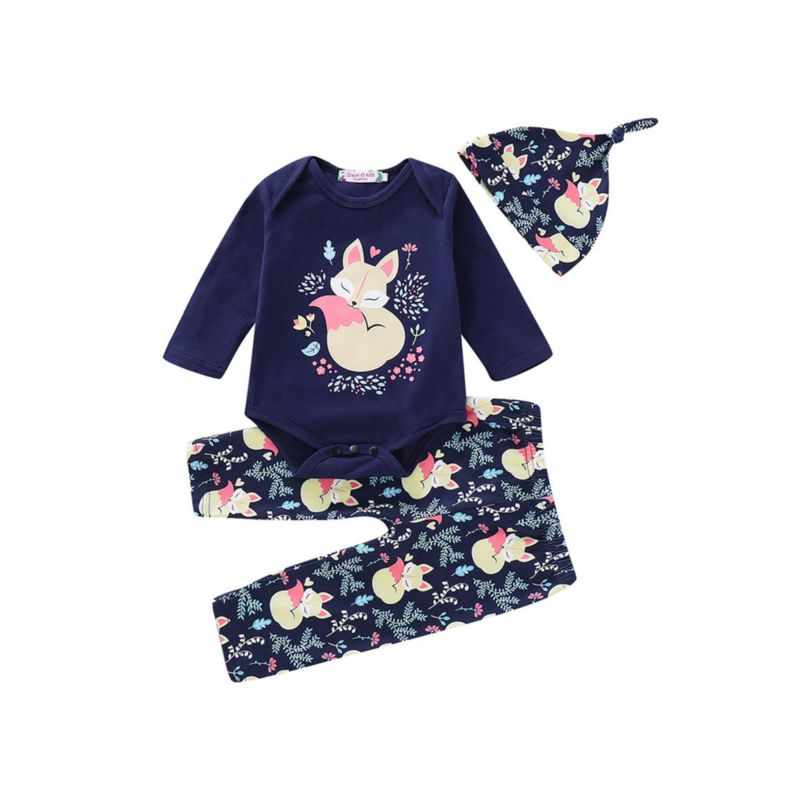 3-Piece Spring Fox Pattern Outfit Long-sleeved Romper+Pants+Hat
