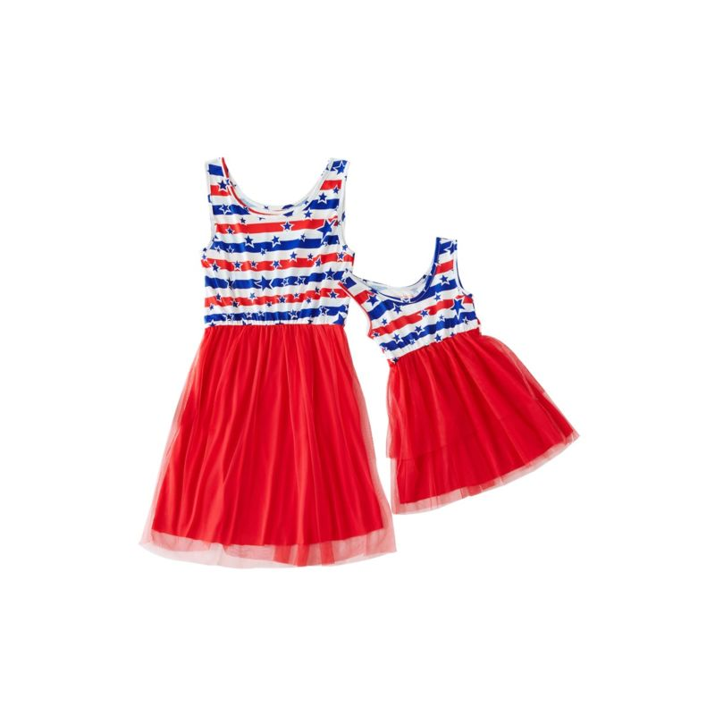 Mommy and Me 4TH of July Mesh Patchwork Sleeveless Dress