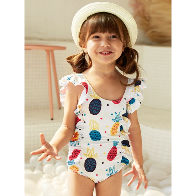 Pineapple Print Frilled Backless One Piece Swimsuit