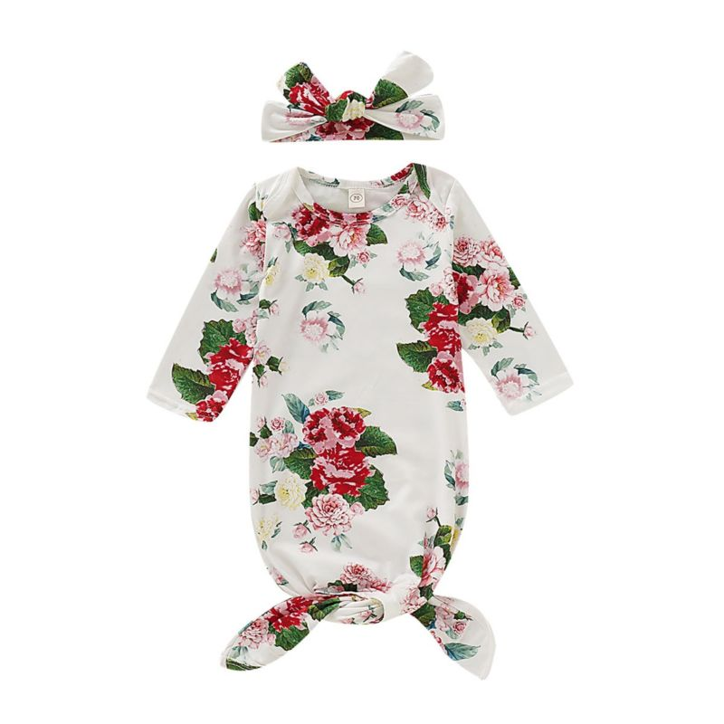 2-Piece Flower Baby Sleeping Bag Matching White Headband/Hat