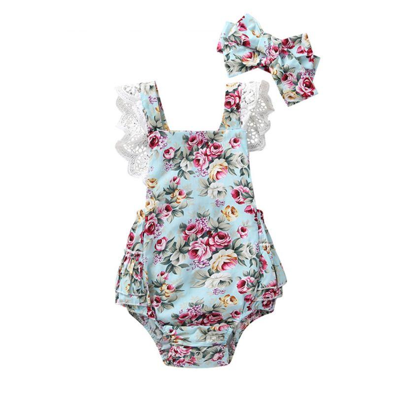 2-Piece Lace Trim Flower Backless Ruffle Baby Bodysuit Matching Headband