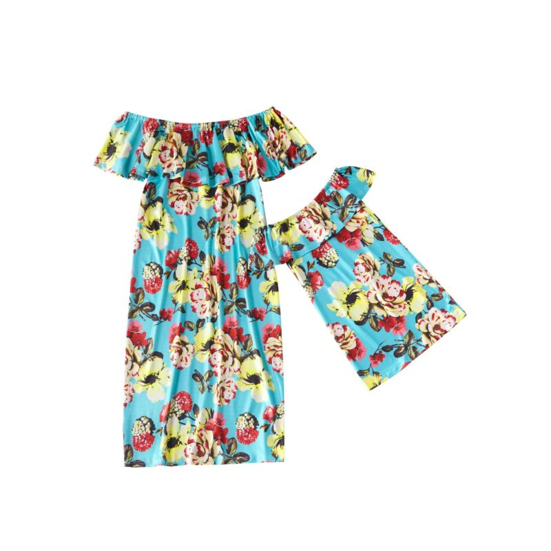Mommy and Me Flower Off Shoulder Ruffle Shift Dress