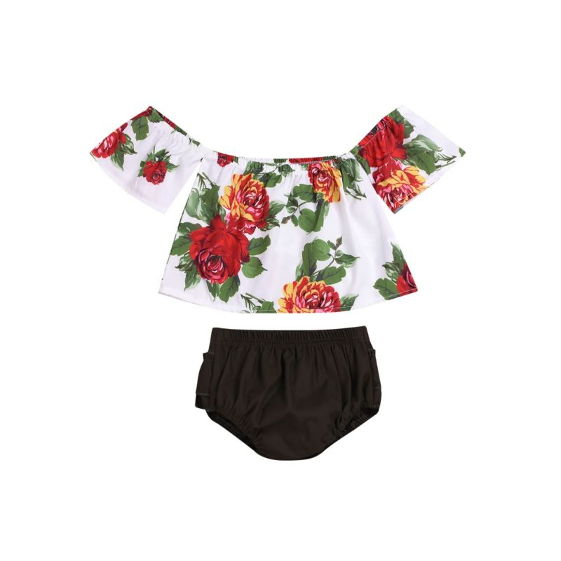 2-Piece Baby Outfit Flower Off Shoulder Top Matching Black Shorts