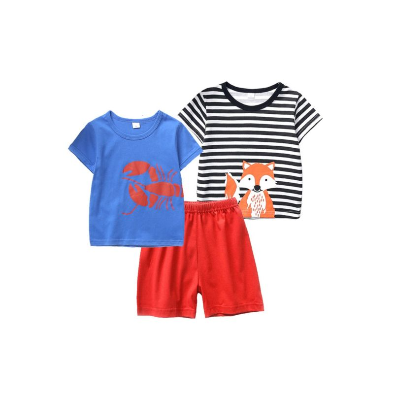 3-PACK Toddle Big Kids Outfit  Lobster/Fox Print T-shirt +Shorts