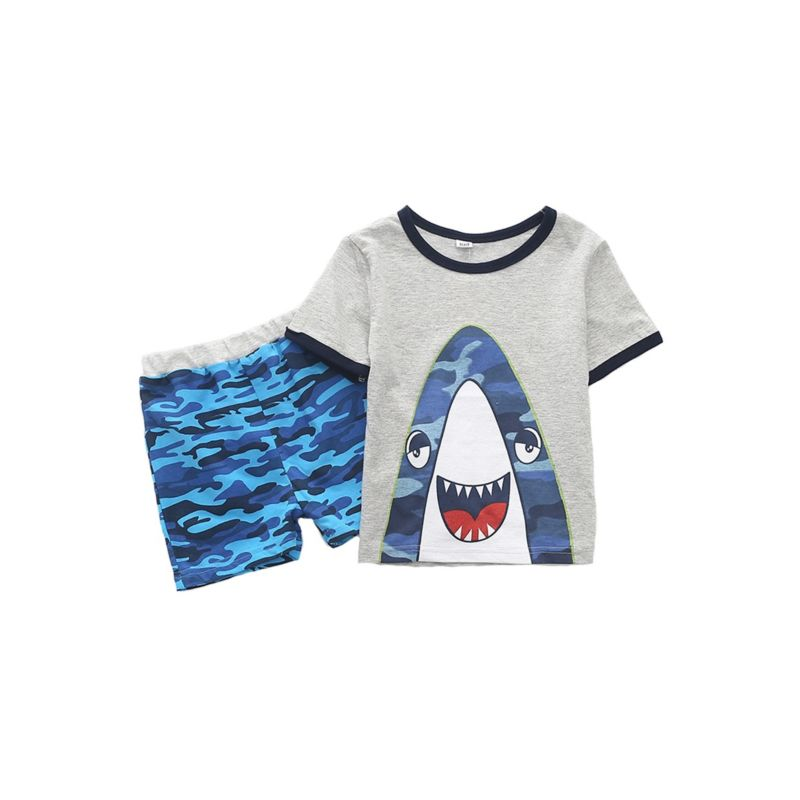 2-Piece Cartoon Printed Outfit T-shirt Matching Pull-on Shorts