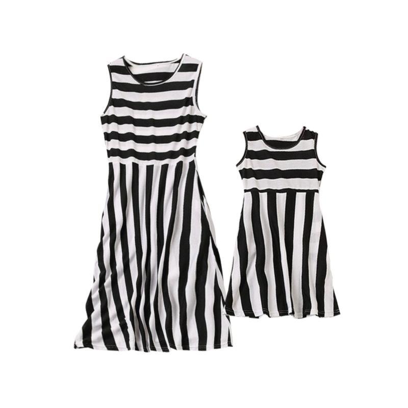 Mommy and Me Black & White Stripe Sleeveless Dress