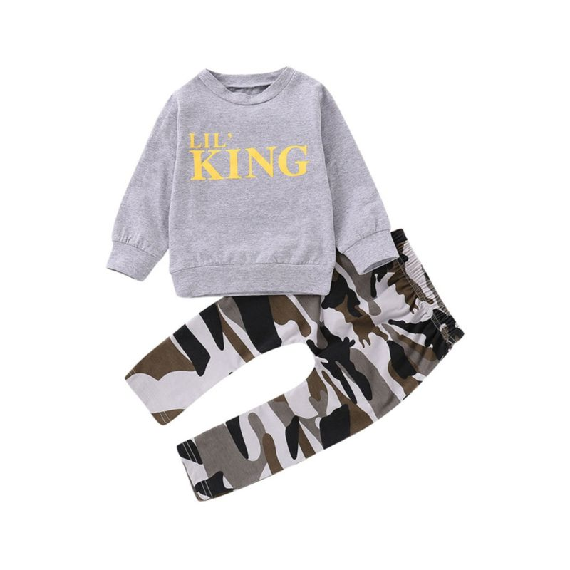 2-Piece Spring Fall Outfit LIL'KING Pullover Matching Camo Pants