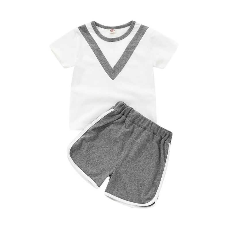 2-Piece Color Blocking Tracksuit T-shirt Matching Side Stripe Shorts