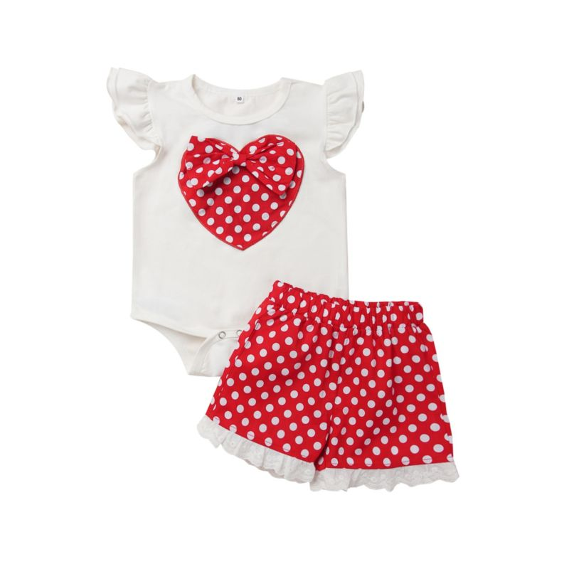 2-Piece Polka Dots Baby Outfit Flutter Sleeve Love Heart Bodysuit Matching Shorts