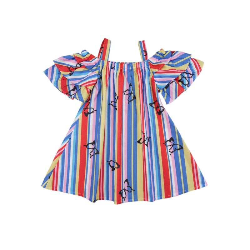 Rainbow Color Stripe Butterfly Off Shoulder Suspender Dress