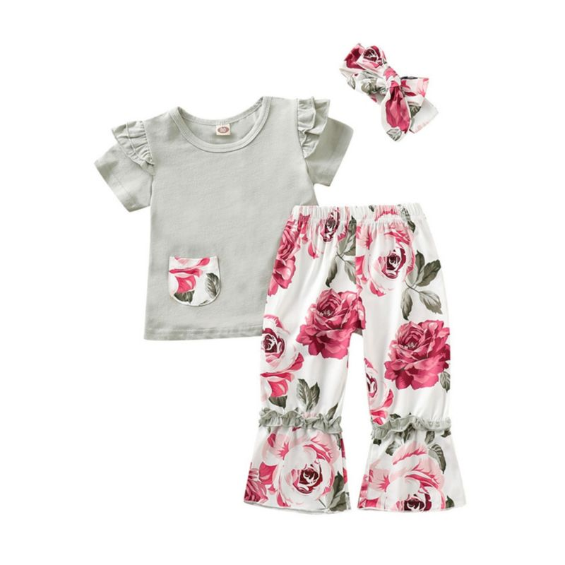 3-Piece Flower Outfit T-shirt Flower Bell-bottoms Headband Set