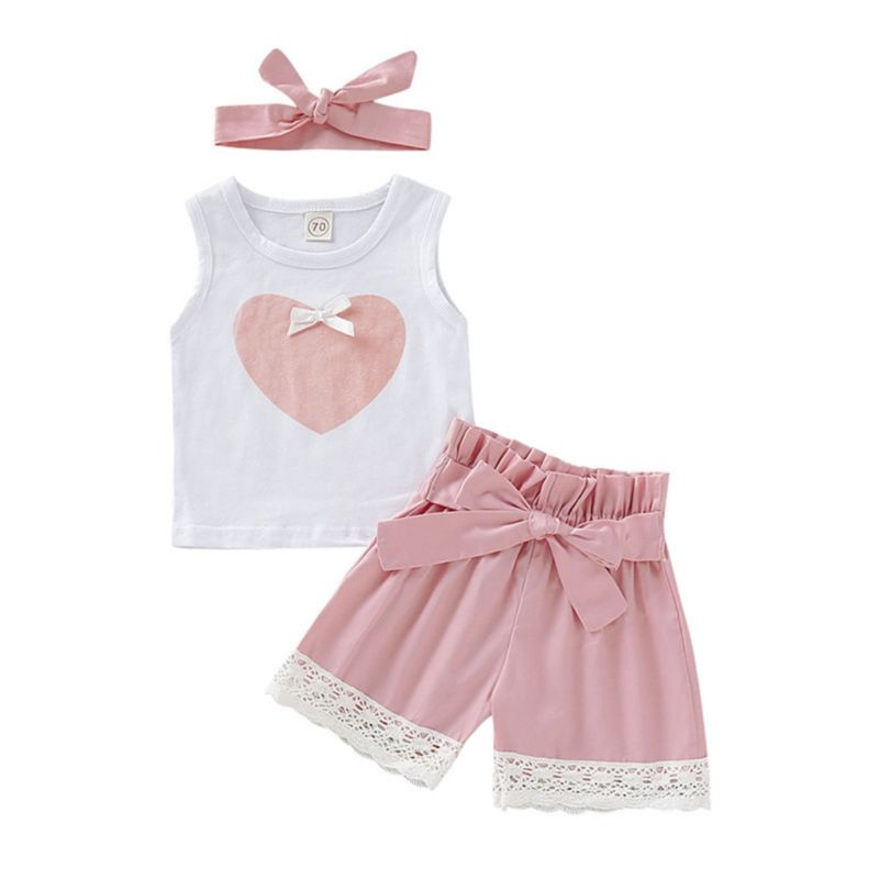 3-Piece Summer Baby Outfit Love Heart Tank Top+Lace Trim Shorts+Headband