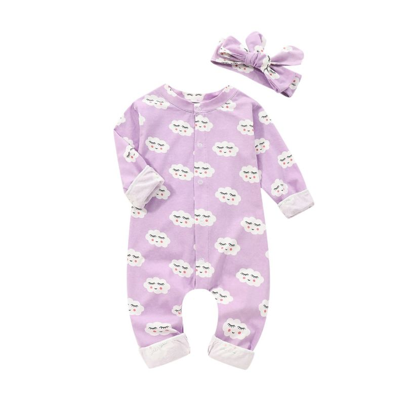 2-Piece Snap-Up Cartoon Print Overalls Matching Headband