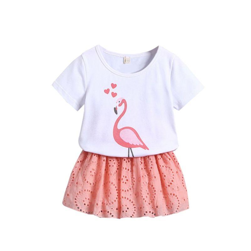2-Piece Toddler Little Girl Outfit Flamingo T-shirt Matching Pierced Skirt