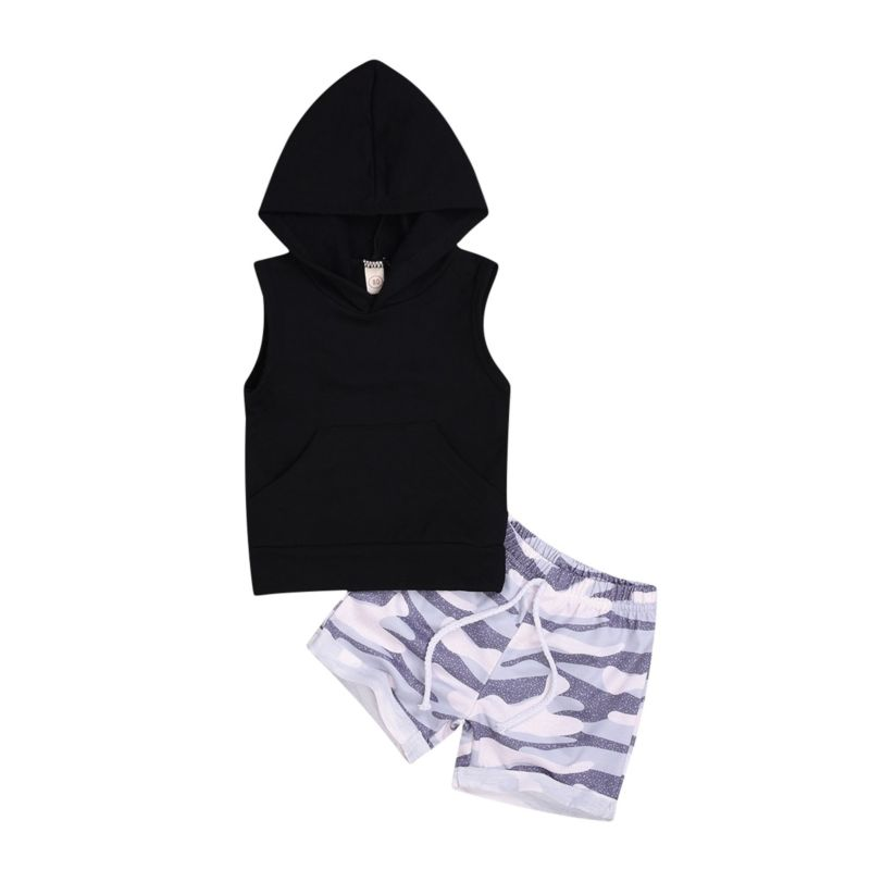 2-Piece Black Hooded Tank Top & Camo Pull-on Shorts Set