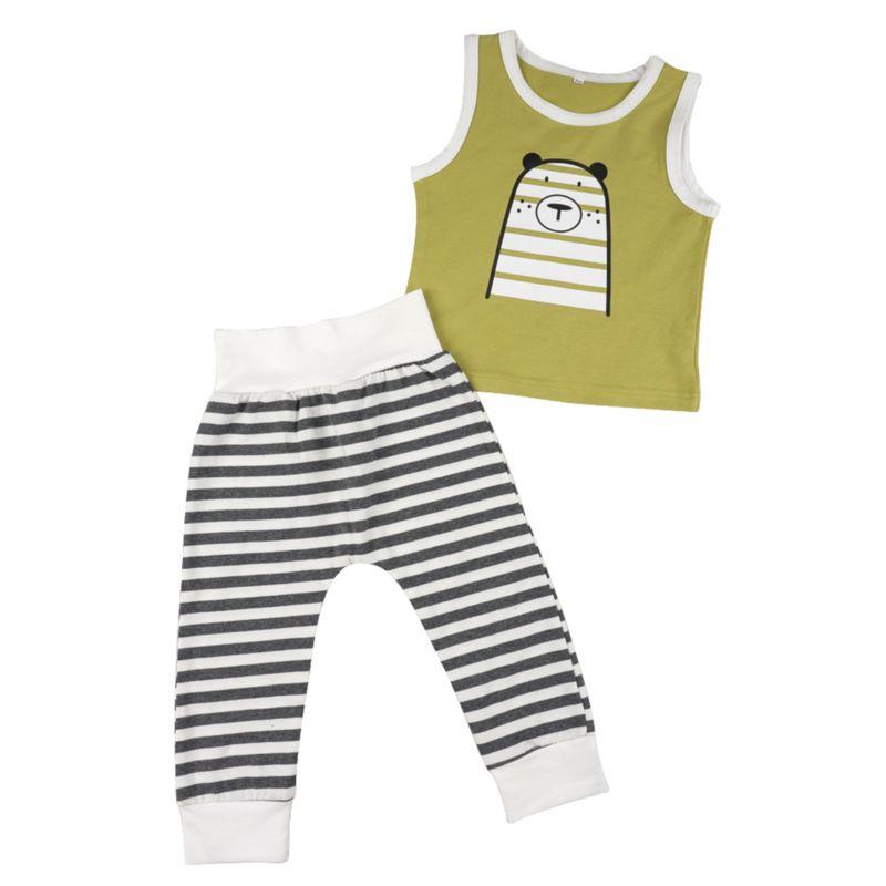 2-Piece Baby Animal Print Tank Top Matching Stripe Pants