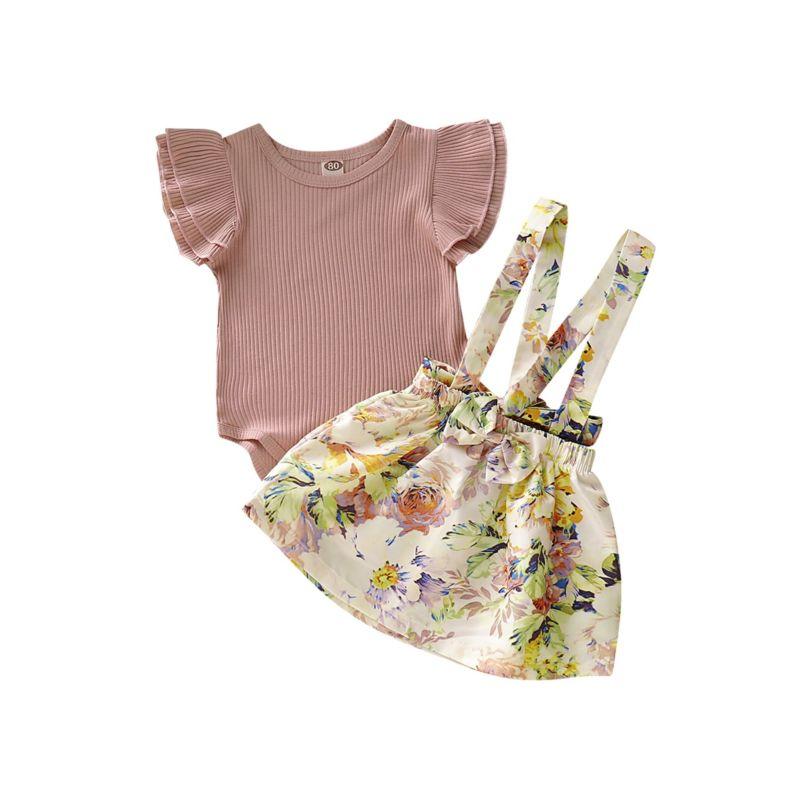 2-Piece Baby Flutter Sleeve Ribbed Bodysuit Matching Flower Braces Skirt