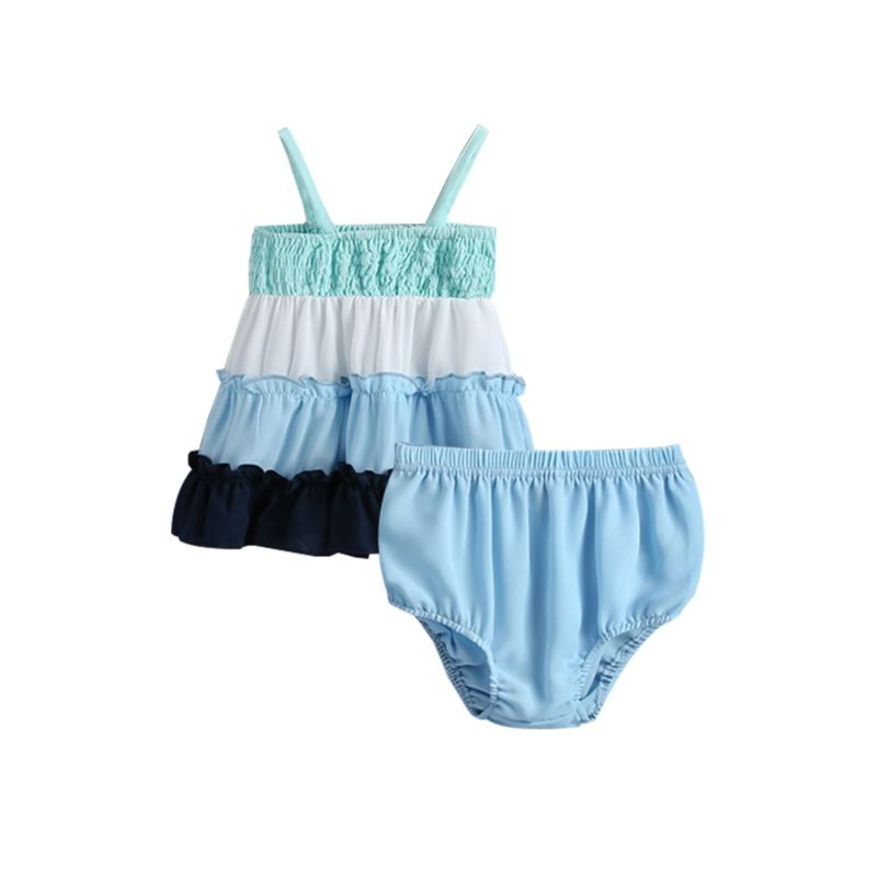 2-Piece Baby Ruffle Color Blocking Suspender Top Matching Shorts Outfit