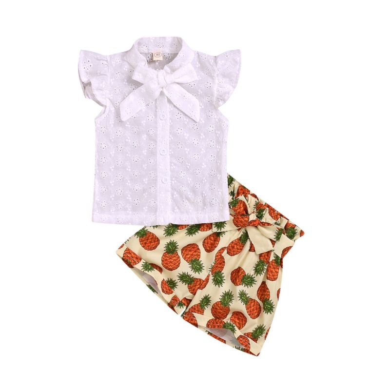 2-Piece Baby Toddler Girl Outfit White Bow Blouse Matching Pineapple Shorts
