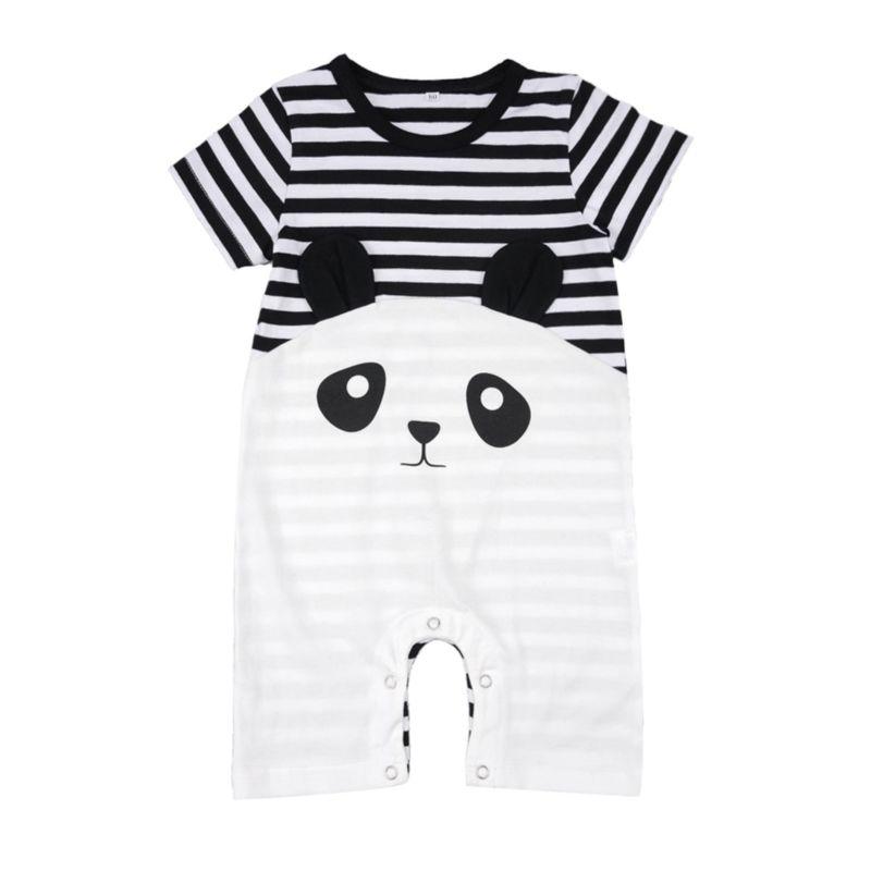 Cute Panda Stripe Pattern Jumpsuit