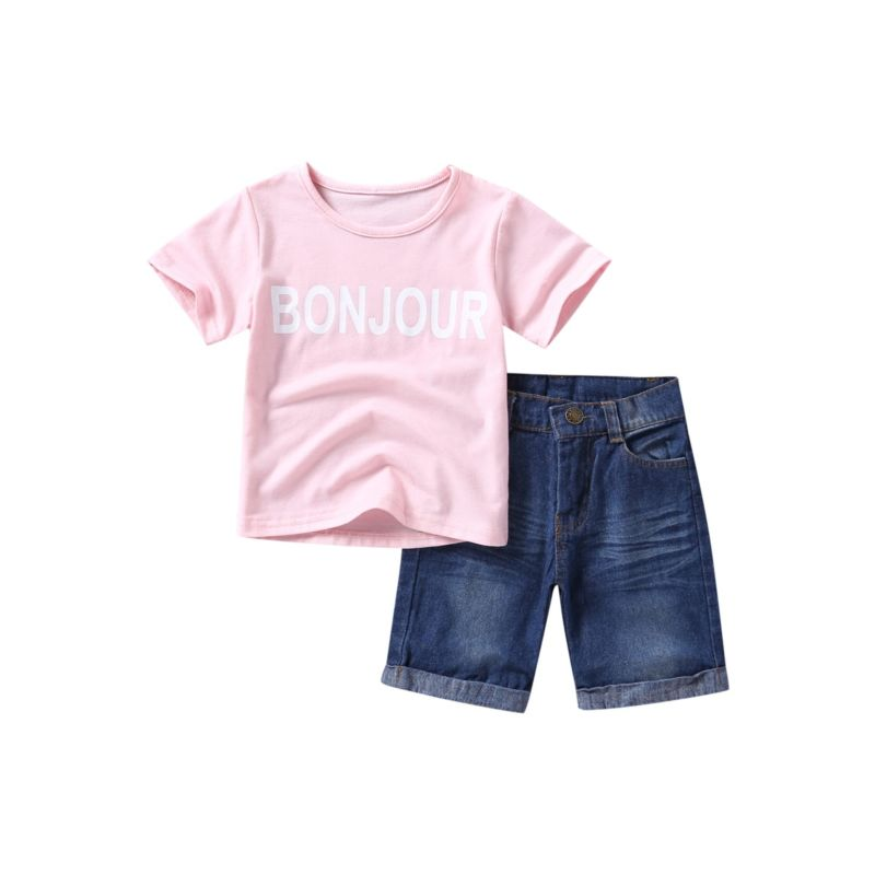 2-Piece Toddler Little Kids Outfit T-shirt Matching Denim Shorts