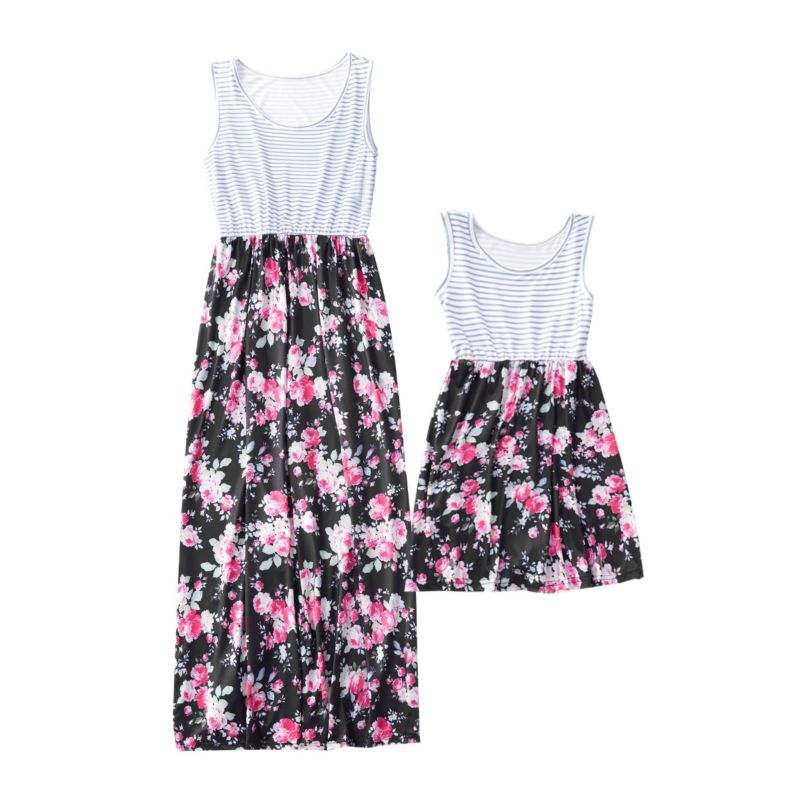Mommy and Me Stripe & Flower Patchwork Dress