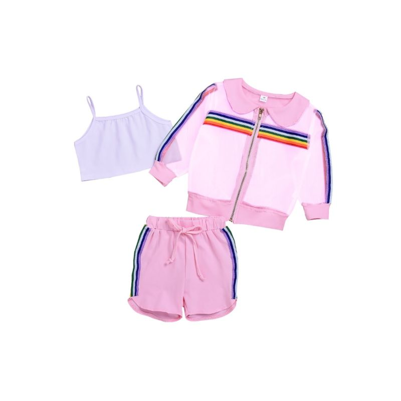 3-Piece Baby Toddler Girl Rainbow Color Summer Tracksuit Suspender Top +Pull-on Shorts+Mesh Jacket