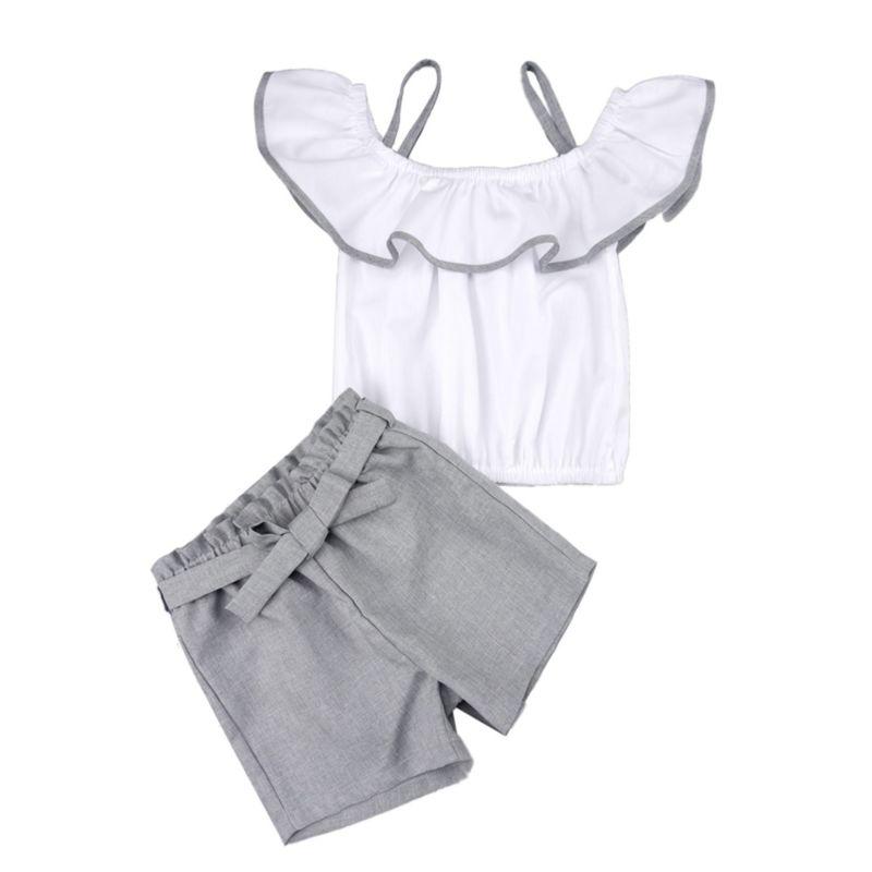 2-Piece Off Shoulder Suspender Top & Grey Shorts Set