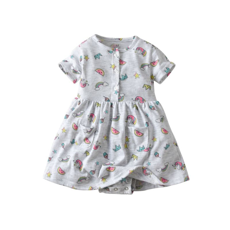 Allover Printed Baby Romper Dress