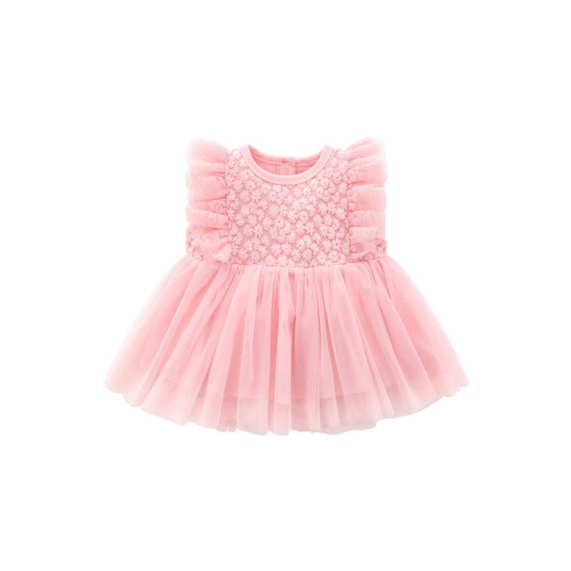 Flower Trim Baby Mesh Christening Dress White /Pink