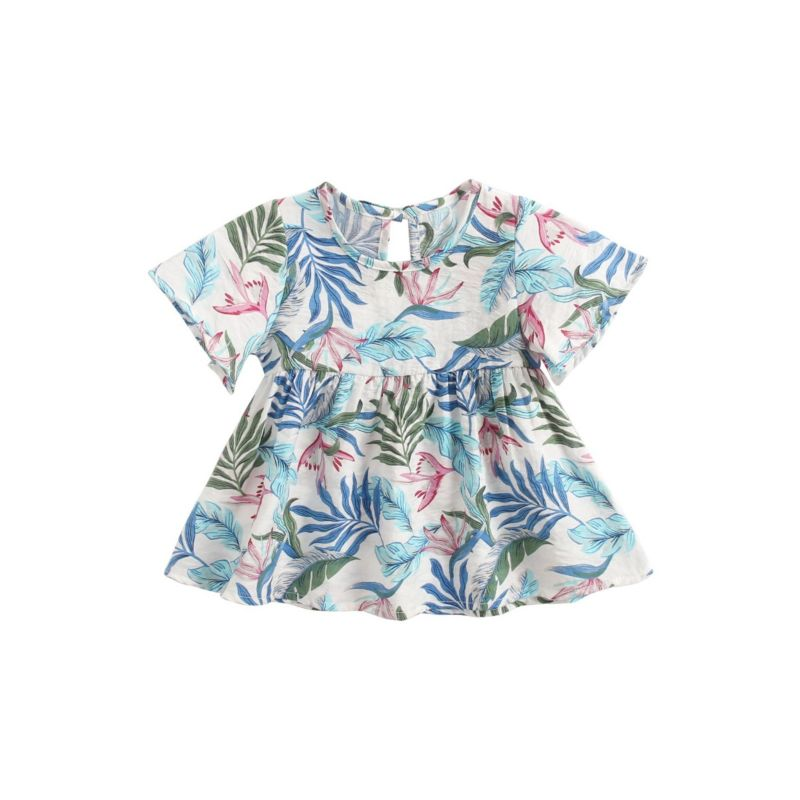 Baby Toddler Girl Tropical Rain Forest Leaf Print Summer Dress
