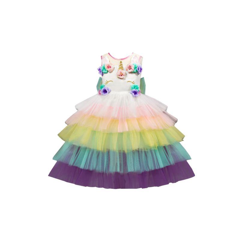 Flower Trim Unicorn Layered Princess Dress