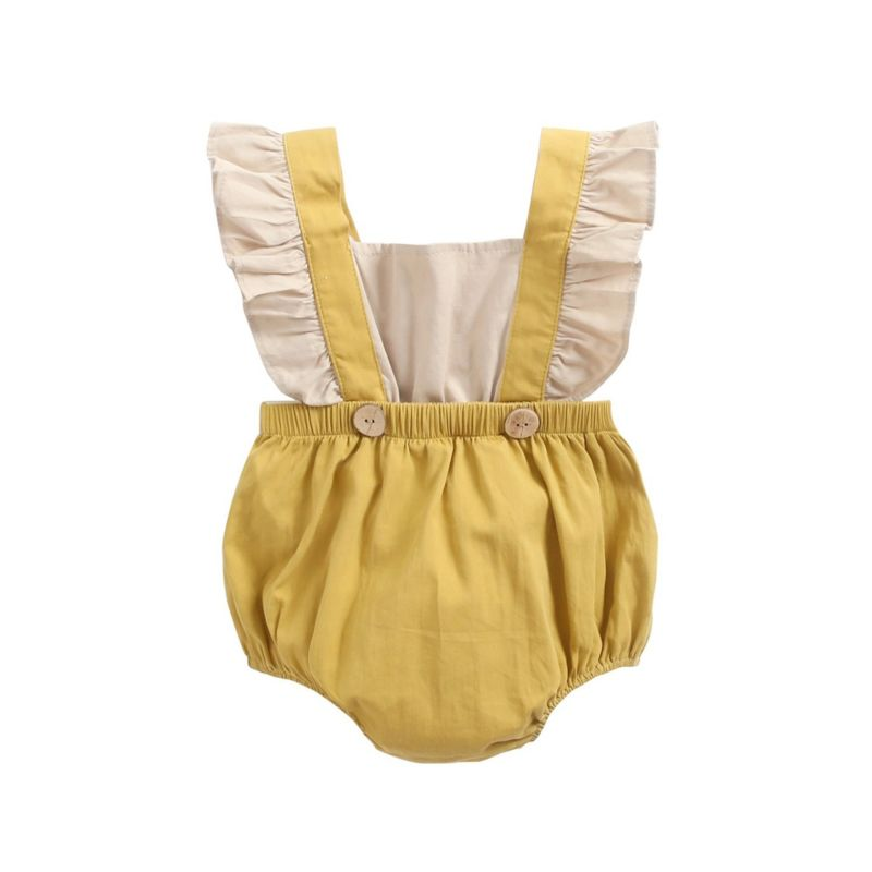Ruffle Braces Style Baby Toddler Girl Romper