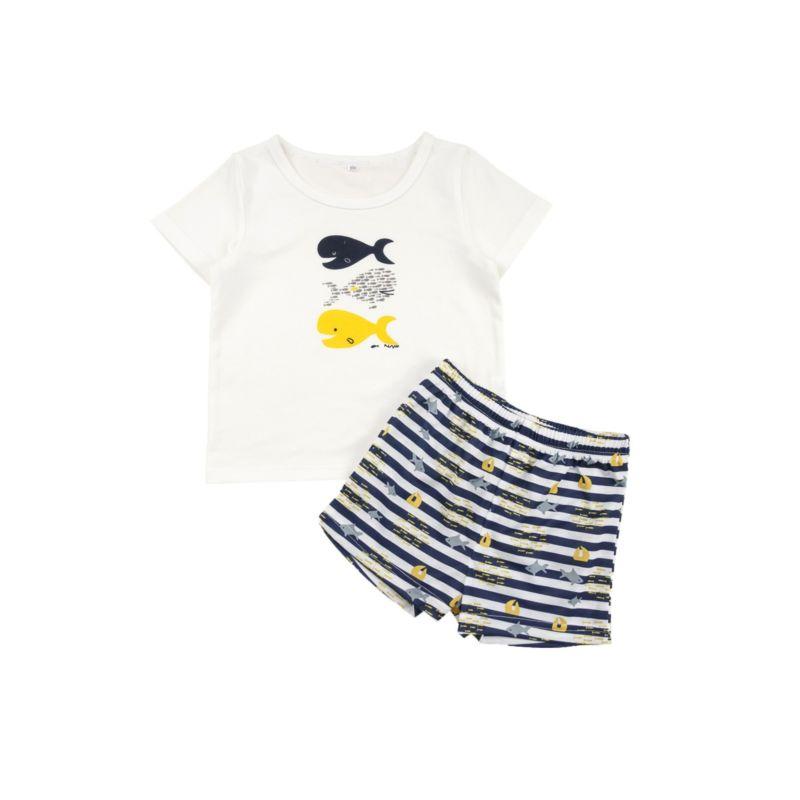 2-Piece Baby Toddler Boy T-shirt & Striped Shorts Set