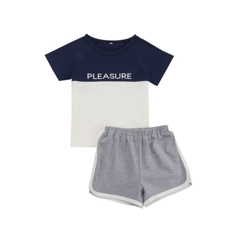 2-Piece Summer Tracksuit Pleasure T-shirt Matching Shorts