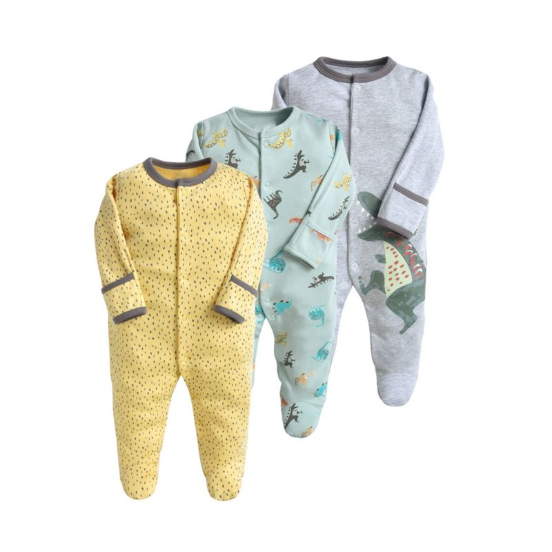 3-PACK Fall Assorted Footed Baby Boy Overalls