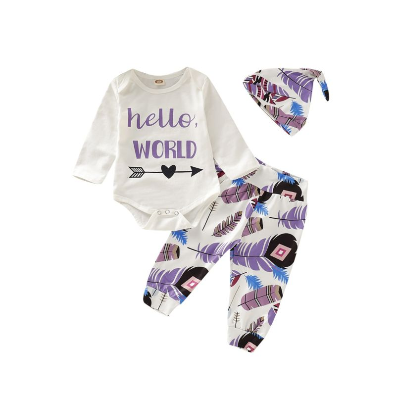 3-Piece Fall Baby Outfits Hello World Arrow Bodysuit+Feather Trousers+Hat