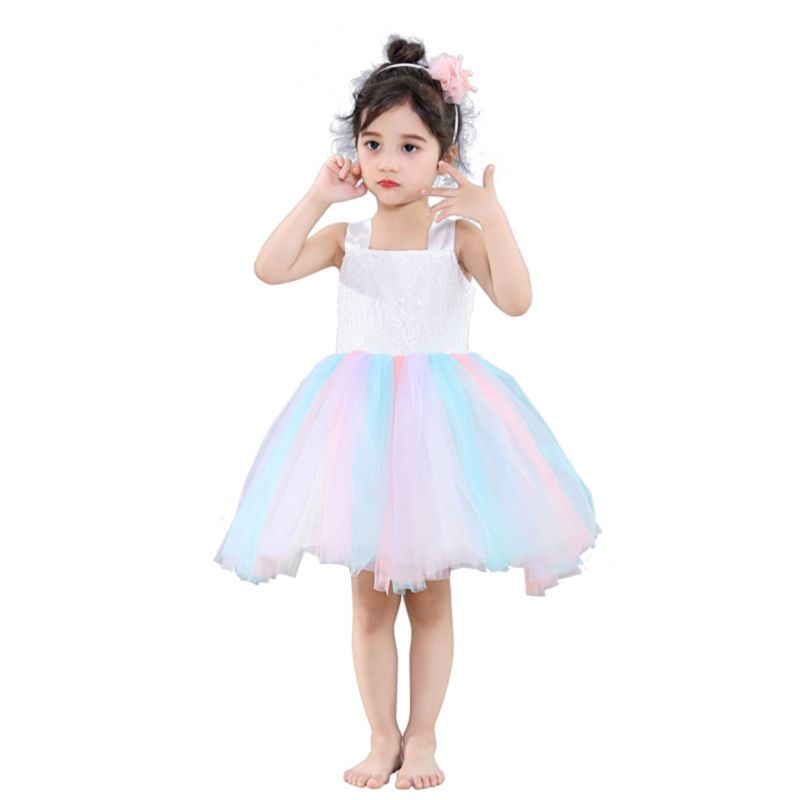 Rainbow Color Tulle Patchwork Dancing Party Dress