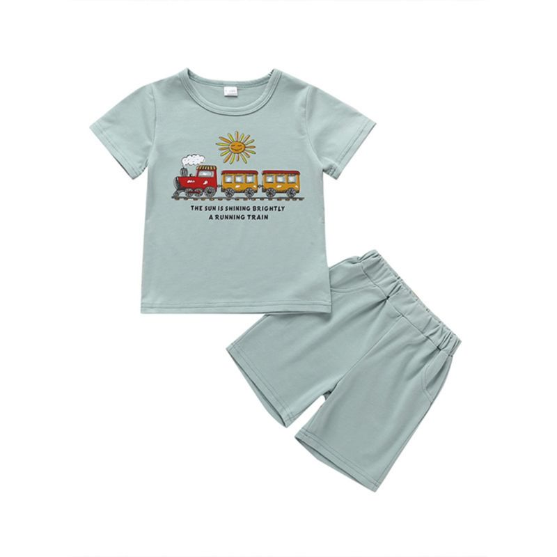 2-Piece Train Print T-shirt & Shorts Set