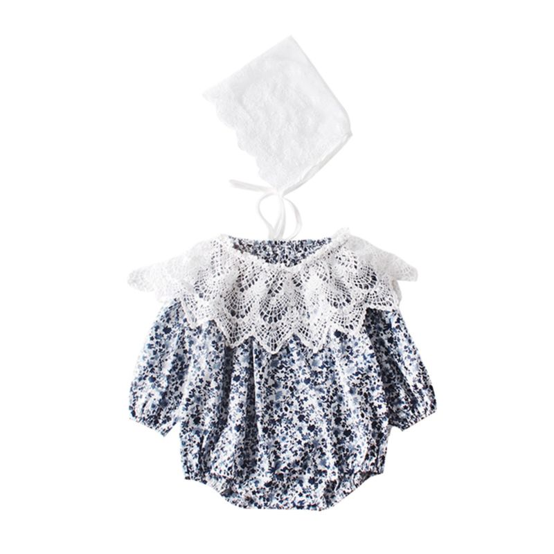 3-Piece Fall Baby Girl Outfit Lace Detachable Collar+Floral Romper+Hat