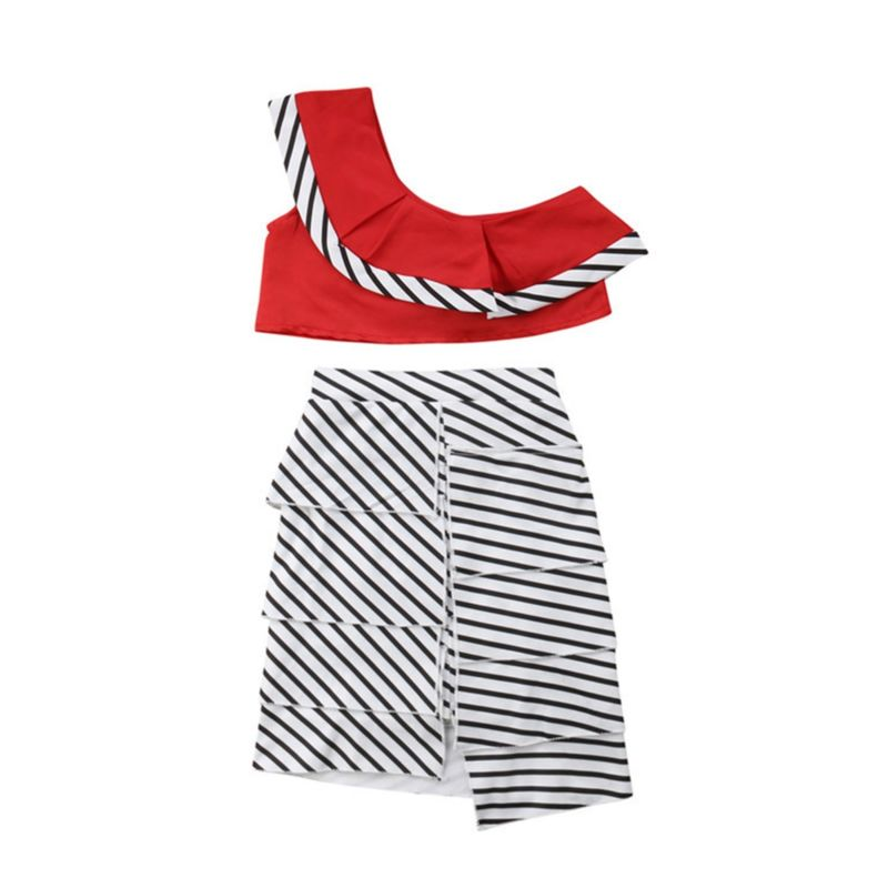 Fashion One Shoulder Top Matching Striped Skirt Set