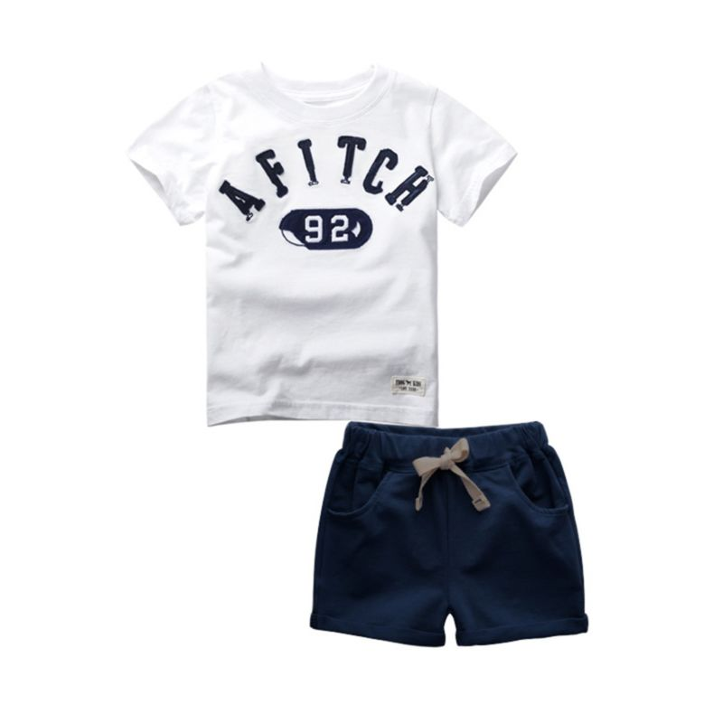 2-Piece Letters Print Tee Matching Solid Color Pull-on Shorts Set