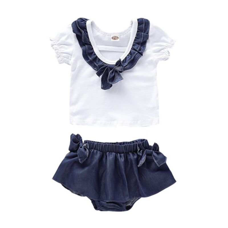 2-Piece Baby Girl Clothes Outfit Ruffle T-shirt Matching Bow Blue Shorts
