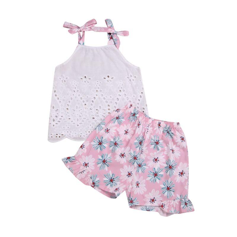 2-Piece Summer Flower Baby Outfit Pierce Tie Top Matching Ruffle Flower Shorts